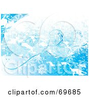 Royalty Free RF Clipart Illustration Of A Blue And White Icy Snowflake Background Version 2 by MilsiArt