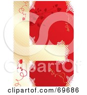Royalty Free RF Clipart Illustration Of A Red And Gold Bridal Background With Vines And White Dots