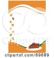 Royalty Free RF Clipart Illustration Of An Orange Thanksgiving Background With A Slice Of Pumpkin Pie And Leaves Around White Space