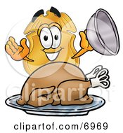 Clipart Picture Of A Badge Mascot Cartoon Character Serving A Thanksgiving Turkey On A Platter by Toons4Biz