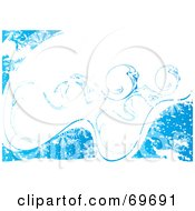 Royalty Free RF Clipart Illustration Of A Blue And White Icy Snowflake Background Version 1 by MilsiArt