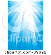 Royalty Free RF Clipart Illustration Of A Background Of Light Rays Shining Down With Bubbles And Stars