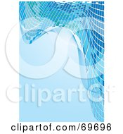 Royalty Free RF Clipart Illustration Of A Blue Background With Waves Of Mosaic Tiles