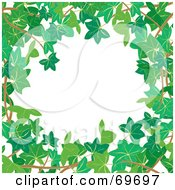White Background Bordered In Branches And Green Ivy Leaves