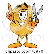 Badge Mascot Cartoon Character Holding A Pair Of Scissors