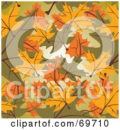 Royalty Free RF Clipart Illustration Of A Background Of Yellow Green And Orange Autumn Leaves by MilsiArt