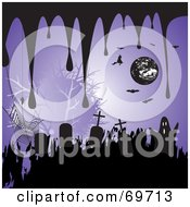 Royalty Free RF Clipart Illustration Of A Purple Halloween Background With Drips Tombstones Spiders Bats Witches And Ghosts by MilsiArt