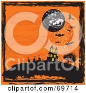 Orange Halloween Background With A Moon Haunted House Graveyard Bats And Black Grunge