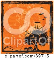 Grungy Orange And Black Halloween Background With Bats Pumpkins And A Tree by MilsiArt