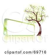 Royalty Free RF Clipart Illustration Of A Green Spring Tree Beside A Shiny Blank Sign by MilsiArt