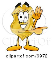 Clipart Picture Of A Badge Mascot Cartoon Character Waving And Pointing by Toons4Biz