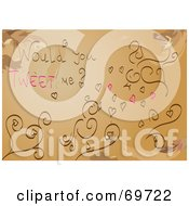 Royalty Free RF Clipart Illustration Of A Brown Background With Vines Birds Hearts And Would You Tweet Me Text