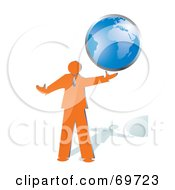 Shiny Orange Businessman Holding A Blue Globe
