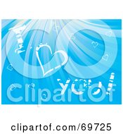 Royalty Free RF Clipart Illustration Of White I Love You Text And Hearts In A Shining Blue Sky by MilsiArt