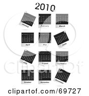 Digital Collage Of Black And White 2010 Calendars On White