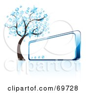 Royalty Free RF Clipart Illustration Of A Blue Winter Tree Beside A Shiny Blank Sign by MilsiArt