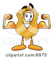 Clipart Picture Of A Badge Mascot Cartoon Character Flexing His Arm Muscles by Toons4Biz