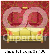 Royalty Free RF Clipart Illustration Of A Modern Pale Green Sofa In Front Of A Retro Circled Red Wall