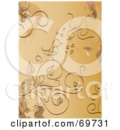 Royalty Free RF Clipart Illustration Of A Brown Background Of Plants And Love Birds
