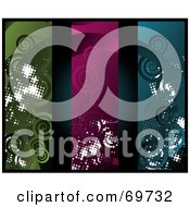Royalty Free RF Clipart Illustration Of A Digital Collage Of Dark Swirl Grunge Banners Version 1 by MilsiArt