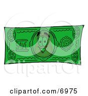 Clipart Picture Of A Badge Mascot Cartoon Character On A Dollar Bill by Toons4Biz