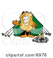 Clipart Picture Of A Badge Mascot Cartoon Character Camping With A Tent And Fire