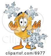 Clipart Picture Of A Badge Mascot Cartoon Character With Three Snowflakes In Winter by Toons4Biz