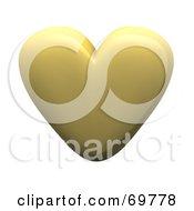 Royalty Free RF Clipart Illustration Of A Gold 3d Love Heart by Jiri Moucka