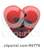 Royalty Free RF Clipart Illustration Of A Red 3d Patched Broken Heart