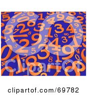 Blue Background With Scattered Orange 3d Numbers