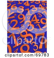 Royalty Free RF Clipart Illustration Of A Blue Background With Scattered Orange 3d Numbers by Jiri Moucka