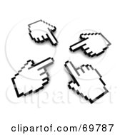 Royalty Free RF Clipart Illustration Of Four Hand Cursors Pointing Inwards by Jiri Moucka