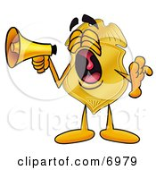 Clipart Picture Of A Badge Mascot Cartoon Character Screaming Into A Megaphone by Toons4Biz