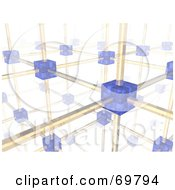 Royalty Free RF Clipart Illustration Of A 3d Networking Cube And Wire Background Version 2 by Jiri Moucka