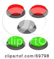 Royalty Free RF Clipart Illustration Of A Digital Collage Of Gray Green And Red 3d Push Buttons by Jiri Moucka