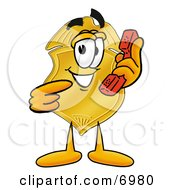 Clipart Picture Of A Badge Mascot Cartoon Character Holding A Telephone by Toons4Biz