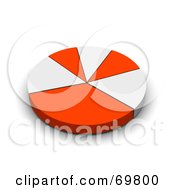 Royalty Free RF Clipart Illustration Of A Red And White 3d Pie Chart by Jiri Moucka