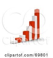 Royalty Free RF Clipart Illustration Of A Red And White 3d Growing Bar Graph by Jiri Moucka