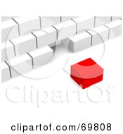 Royalty Free RF Clipart Illustration Of A Red 3d Cube Near A White Pyramid by Jiri Moucka
