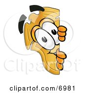 Clipart Picture Of A Badge Mascot Cartoon Character Peeking Around A Corner by Toons4Biz