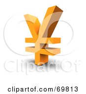 Royalty Free RF Clipart Illustration Of An Angled Orange Yen Symbol