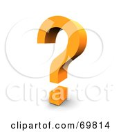 Royalty Free RF Clipart Illustration Of An Angled Orange Question Mark Symbol by Jiri Moucka