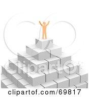 3d Anaranjado Guy Celebrating On Top Of A Pyramid