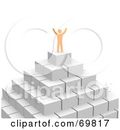 Royalty Free RF Clipart Illustration Of A 3d Anaranjado Guy Celebrating On Top Of A Pyramid