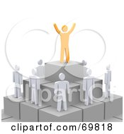 Royalty Free RF Clipart Illustration Of A 3d Anaranjado Guy Standing On Top Of A Pyramid With Staff Below
