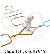 Royalty Free RF Clipart Illustration Of A 3d Blanco Man Character Standing On A Colorful Path by Jiri Moucka