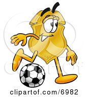 Clipart Picture Of A Badge Mascot Cartoon Character Kicking A Soccer Ball by Toons4Biz