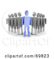 Royalty Free RF Clipart Illustration Of A 3d Blue Guy Followed By Gray Guys