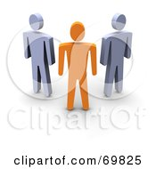 Royalty Free RF Clipart Illustration Of A 3d Anaranjado Guy Standing In Front Of Gray Guys