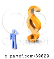 Royalty Free RF Clipart Illustration Of A 3d Blue Guy Standing Before An Orange Paragraph Symbol